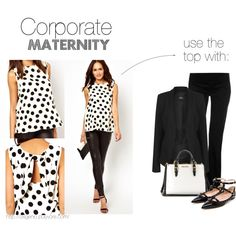 """""""Corporate maternity: polka dot top"""" by oxigenio on Polyvore"""