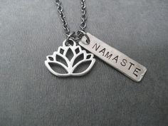LOTUS FLOWER NAMASTE Yoga Necklace  Yoga Jewelry  by TheRunHome