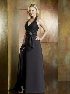 Black Halter V-neck Sexy Fashion Floor Length Mother Of Brides Dress