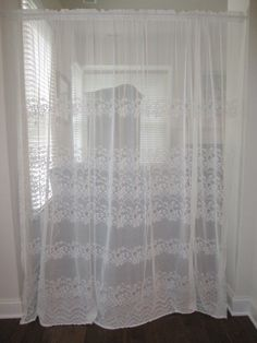 Sheer Curtain Off White Floral Embroidered Extra Wide Panel 88 X 82 Long