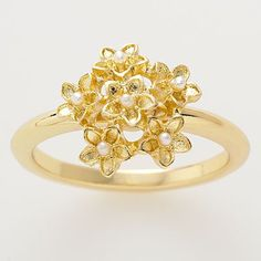 LC Lauren Conrad Gold Tone Simulated Pearl Flower Cluster Ring