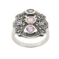 Sterling Silver Marcasite and Amethyst 3-Stone Ring, Size 5 $224.99 #AmazonCuratedCollection