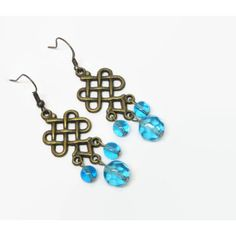 Aqua/Turquoise Celtic Knot Chandelier Earrings, Irish Knot Chandelier... ($12) ❤ liked on Polyvore featuring jewelry, earrings, green turquoise jewelry, knot jewelry, knot earrings, turquoise chandelier earrings and turquoise jewelry
