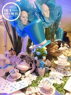 Blue and white decorations at an Alice in Wonderland birthday party! See more party planning ideas at CatchMyParty.com!