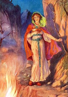 Harry George Theaker (1873-1954) Illustrations for Children's Stories from the Northern Legends by M. Dorothy Belgrave and Hilda Hart. ~ Sigyn, Loki's Wife