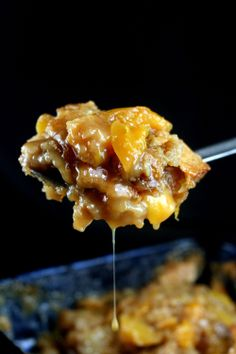 Caramel Peach Cobbler. The batter rises from the bottom to top during baking to form an amazing cobbler crust