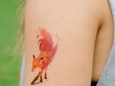 Abstract Watercolor Tattoos | The lovely and somewhat mysterious fox is a great idea for a tattoo ...