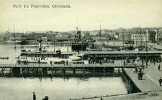 """Christiania Kristiania Oslo  PIPERVIKEN. Fint og noe uvanlig kort med båter ved kai inkl. """"Louise""""  Utg E.A.Schjörn"""