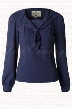 Collectif Clothing - 50s Wendy Sailor Blouse in Navy