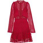 Self-Portrait Ruffled georgette-trimmed guipure lace mini dress