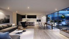 salon moderne taupe avec parquet en bois clair et toit-terrasse panoramique