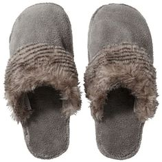 Pottery Barn Cozy Faux Fur Slipper ($30) ❤ liked on Polyvore featuring shoes, slippers and grey