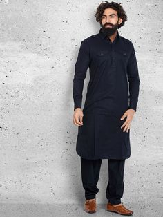 Shop Cotton navy plain pathani suit online from India. Pathani Kurta Men, Pathani For Men, Suit Fashion, Mens Fashion, Kurta Pajama Men, African Wear Styles For Men, Boys Kurta Design, Mens Kurta Designs, Indian Men Fashion