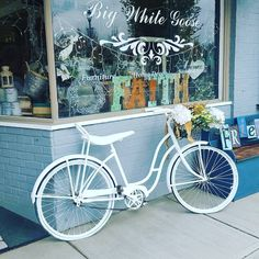Repainted outside of my shop using Annie Sloan Chalk Paint® stands up so well outside. Coco and Pure White.. yummy!