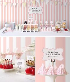 DIY Ice Cream Parlor Buffet. Combined with a pink and green owl theme, this would make a great first birthday party!