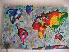 Cuadro Mundo pintado a mano