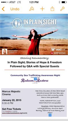 FREE documentary with Q&A following #sextraffickingWI #hopeandfreedom January 22