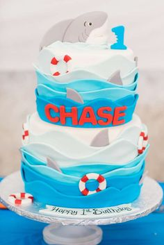 Amazing cake at a shark birthday party! See more party ideas at CatchMyParty.com!