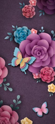 Purple Wallpaper, Paper Wallpaper, Daisy Background, Cute Wallpapers, Iphone Wallpapers, Phone Backgrounds, Dragonflies, Rose, Owls