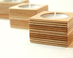 Birch plywood candle holder with copper handle por MAATALO en Etsy
