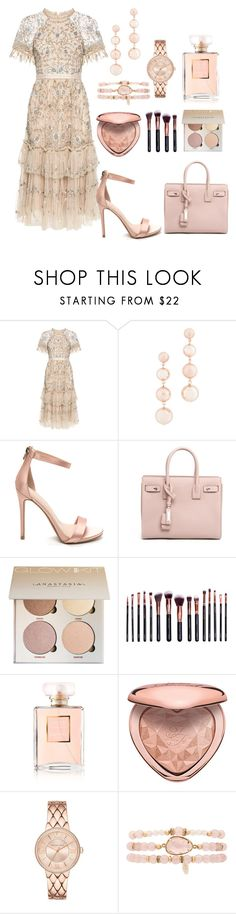 """""""Baby pink"""" by rani-gomes ❤ liked on Polyvore featuring Needle & Thread, Rebecca Minkoff, Yves Saint Laurent, M.O.T.D Cosmetics, Chanel, Too Faced Cosmetics and Ettika"""