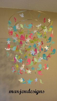 Ocean theme whale, sea horse and starfish, crab and mermaid mobile. Mobile is perfect for any room, nursery or a special occasion. Mobile is made