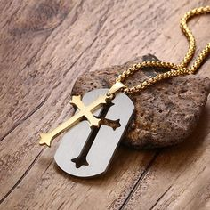 Mprainbow Unique Mens Necklaces Pendants Stainless Steel Detachable Latin Cross Dog Tag Pendant Necklace for Men Fashion Jewelry