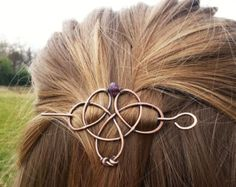 Celtic copper hair clips or barrettes - Shawl pins - Womens Gift For her - Rustic hair jewelry - Celtic knot