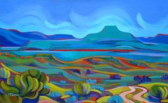 "Tracy Turner New Works Gallery ""Perdernal Overlook"" ~goache on archival board, 11""x15"" Original art available ~ $875 The Ranch at Taos~ Taos, New Mexico"