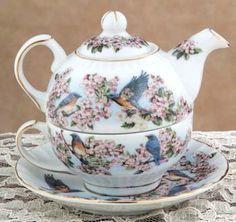Tea For One ~ Blue Birds Tea Pot ~ Adorable