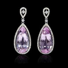 Diamond and Pink Amethyst 18k White Gold Dangle Earrings