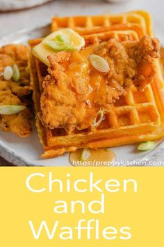 Chicken and waffles from Preppy Kitchen is the ultimate comfort food meal! Buttermilk fried chicken tenders served with cornmeal waffles that are both crispy and fluffy and a sweet and sticky maple bourbon syrup. Chicken And Waffles Recipe Easy, Easy Waffle Recipe, Fried Chicken And Waffles, Chicken Tender Recipes, Waffle Recipes, Yummy Drinks, Delicious Desserts, Yummy Food, Yummy Yummy