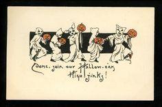Halloween Postcard Leubrie & Elkus 7010-3 2of2 Artist HBG Ghosts w/ JOL pumpkins