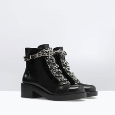 ZARA - WOMAN - LEATHER LACE-UP BOOTIES WITH CHAINS
