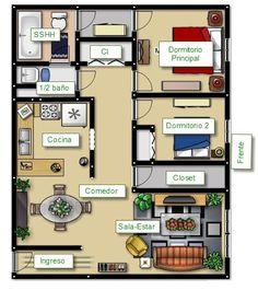 Este es el plano de la casa de nuestros sueños: es un apartamento que se sitúa en un bloque de pisos. Cuenta una entrada pequeñita y dos dormitorios muy bonitos. A la derecha de los dormitorios hay el comedor y la cocina. A la izquierda del comedor hay un salón bastante grande, a la izquierda de los dormitorios hay también dos baños: uno pequeño sobre del otro que es más grande.