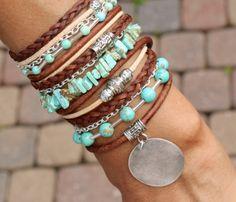 Pick SIZE Turquoise Magnesite Tibetan Boho by WrappedinYou Bracelet Making, Jewelry Making, Bohemian Style Jewelry, Diy Schmuck, Leather Jewelry, Leather Bracelets, Turquoise Jewelry, Custom Jewelry, Jewelry Accessories