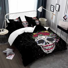 Bedding Ideas For Teen Girls Code: 4699830112 Quick Diy Projects For The Home, Emo, Duvet Covers Urban Outfitters, Blanket Cover, Comforter Sets, Sugar Skull, Bed Sheets, Pillow Covers, Room Decor