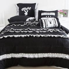PLAYBOY-BUNNY-FRENCH-RUFFLES-BLACK-WHITE-KING-bed-QUILT-DOONA-COVER-SET-NEW