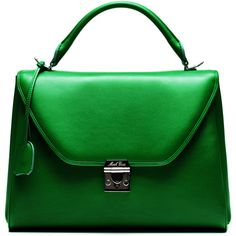 Mark Cross Small Scottie In Green Calf Leather (£2,000) ❤ liked on Polyvore featuring bags, handbags, green, calfskin handbag, green purse, mark cross handbags, mark cross bags and lock bag