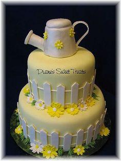 watering can garden shower cake: