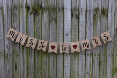 Burlap Banner MISS to MRS Banner Engagement Party  Bunting Just Married Banner, Party Bunting, Burlap, Unique Jewelry, Handmade Gifts, Engagement, Etsy, Kid Craft Gifts, Hessian Fabric