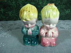 Vintage Salt and Pepper Shakers: Praying by SallysVintageKitchen