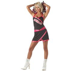 This naughty cheerleader outfit is the perfect sexy Halloween costume for any high spirited lady. - Halter top with screen printed lettering - Cheer Leading Skirt - Black and pink pom poms - Shoes not