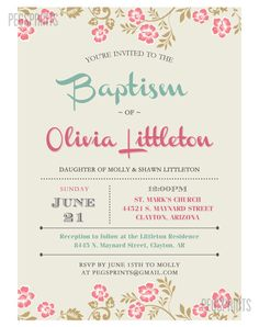 Printable Baptism Invitation Girl Baptism Invitation by PegsPrints