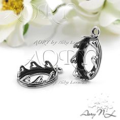1pcs 925 Sterling Silver Heart Crown Bezel Pendant for by AoryNL