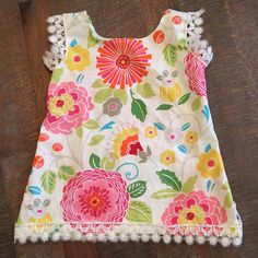 Baby girl tank top size 3 months bright floral by LilThyngCrafts