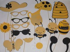 HUNNY BEES black and yellow photo booth props by flutterbugfrenzy, $35.25