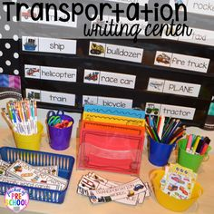 Transportation Centers and Activities (Road Number Mat Freebie too) - Pocket of Preschool Writing Center Preschool, Preschool Centers, Kindergarten Writing, Preschool Curriculum, Preschool Classroom, Literacy Centers, Math Writing, Preschool Fingerplays, Classroom Ideas