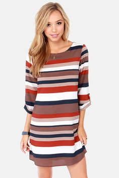 Taupe Striped Shift Dress