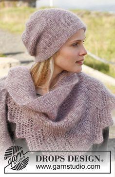"""Bonnet et châle DROPS au point mousse avec bordure ajourée, tricotés avec 2 fils """"Kid-Silk"""". ~ DROPS Design"""